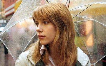 девушка, блондинка, актриса, длинные волосы, скарлетт йохансонн, девушка с зонтом