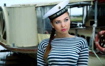 девушка, грудь, морячка, тельняшка, русская девушка, девушка с косой