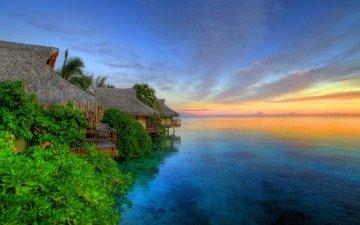 восход, природа, закат, море, вид, дома, океан, остров, хижина