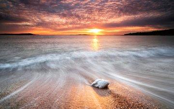 небо, вода, солнце, камни, берег, закат, море, волна, блеск, камень, след, потоки, выдержка