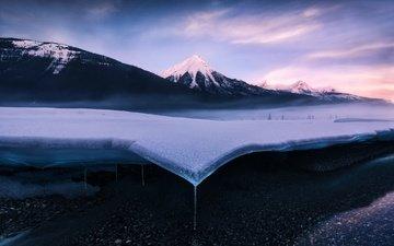 горы, снег, природа, пейзаж, лёд, вершина