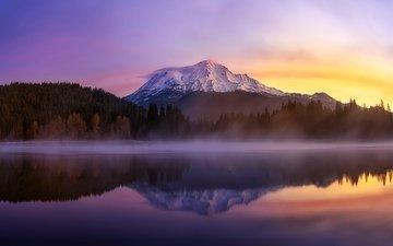 lake, morning, fog, usa, ca, mount shasta