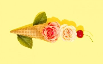 цветы, вишня, рожок
