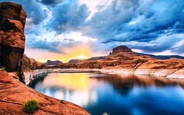 water, lake, sunrise, stones, canyon