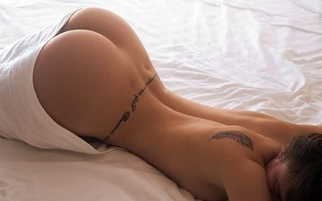 girl, pose, ass, tattoo, bed