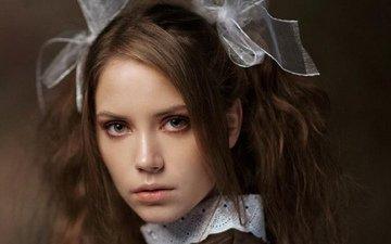 девушка, портрет, брюнетка, макияж, школьница, бантики, крупно, ксения кокорева, максим максимов