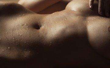 девушка, капли, трусики, грудь, мокрая, живот