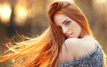 девушка, макияж, рыжая девушка, голые плечи, рыжие волосы