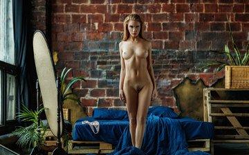 девушка, поза, стена, тело