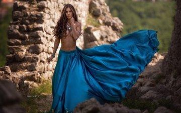девушка, платье, модель, голубое, походка