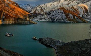 небо, облака, озеро, горы, природа, иран