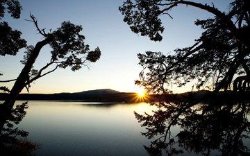 деревья, озеро, горы, закат, ветки, водоем, даль, силуэты