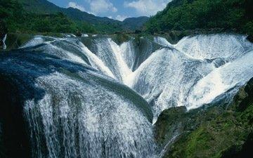mountains, greens, landscape, waterfall, waterfalls