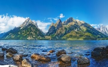 the sky, clouds, lake, mountains, landscape
