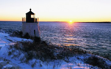 солнце, снег, берег, закат, зима, пейзаж, море, маяк
