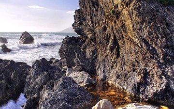 rocks, nature, stones, wave, sea, coast, squirt, the ocean, surf