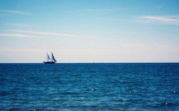 the sky, sea, horizon, summer, yacht