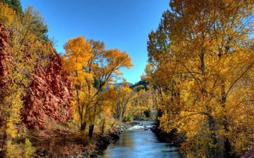 the sky, trees, river, nature, autumn, yellow leaves