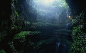 свет, природа, спуск, пейзаж, водопад, ущелье, пещера