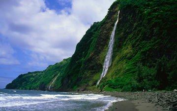 природа, пейзаж, море, водопад