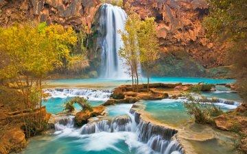 река, скалы, пейзаж, водопад, осень