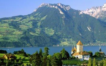 lake, castle, switzerland