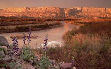 river, mountains, nature, horizon, canyon