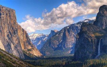 облака, горы, скалы, лес, водопад