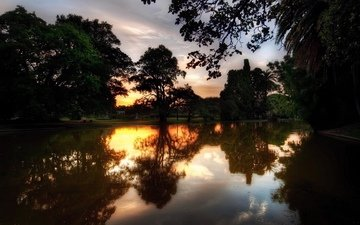 the sky, clouds, trees, river, sunset, reflection