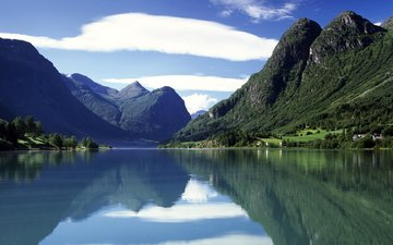 lake, mountains, nature, forest, home, norway, stryn, lake oldenvatnet