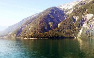 lake, mountains, kyrgyzstan, sary chelek