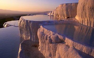 water, mountains, turkey, plateau, limestone, pamukkale