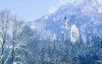 trees, mountains, winter, castle, germany, neuschwanstein