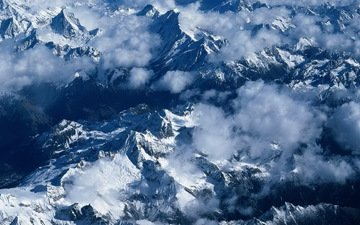 clouds, mountains, snow, fog, the view from the top
