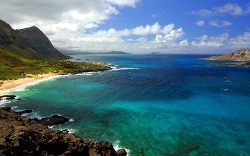nature, shore, sea, rock, horizon, the ocean, usa, hawaii, the hawaiian islands