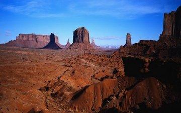 небо, пейзаж, пустыня, каньон, аризона, долина монументов