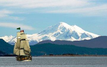 река, горы, снег, море, корабль, парусник, вершины, флаг, ванкувер, остров, канада, паруса