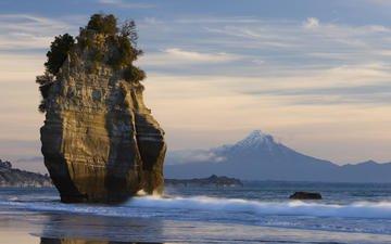 sea, rock, new zealand, mt taranaki