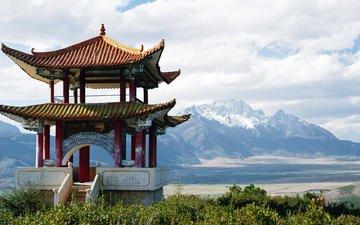 pagoda, china, snowy mountains