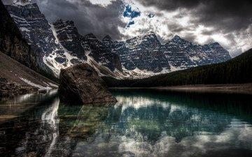lake, mountains, snow, bay, a huge stone