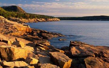 небо, горы, скалы, камни, море, мэйн, acadia national park