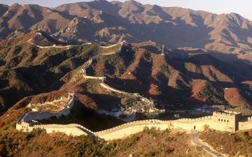 горы, пейзаж, китай, великая китайская стена