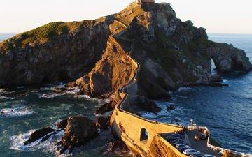 мост, побережье, залив, остров, испания
