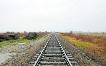 железная дорога, рельсы, шпалы, природа, пейзаж