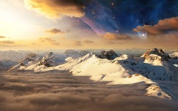 the sky, light, clouds, mountains, snow, nature, space, morning, stars, dawn, tops, shadows