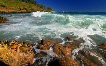 rocks, coast, the ocean, hawaii, kealia shoreline, kauai