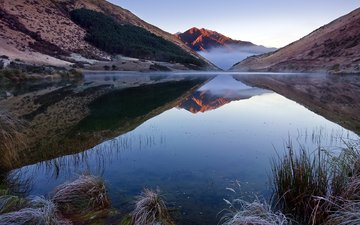 озеро, отражение, новая зеландия, 64, квинстаун