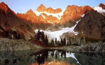 light, lake, mountains, rocks, snow, landscape, 98