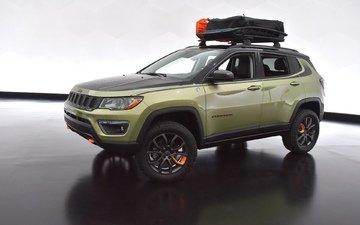 небо, грязь, земля, черный, машины, автомобиль, джип, внедорожник, grand, cherokee, eep, jeep compass