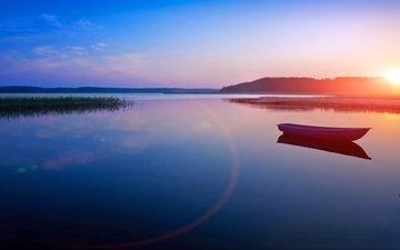 вечер, озеро, закат, лодка